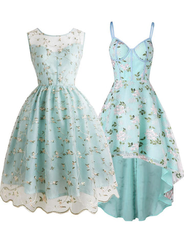 2PCS Top Seller Light Green 1950s Dresses