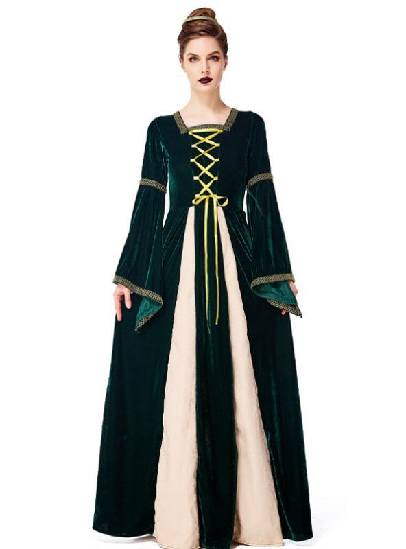 Dark Green Aristocratic Palace Costumes Dress