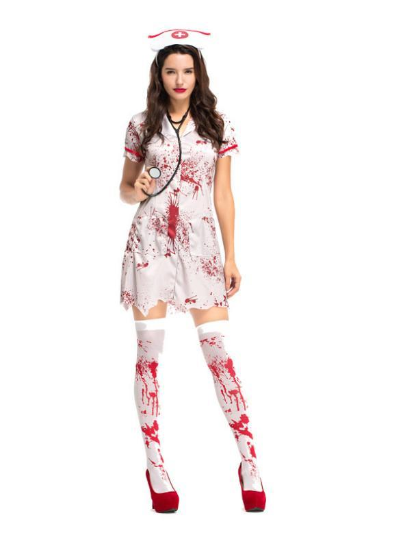 Women Halloween Grey Blood Nurse Outfit