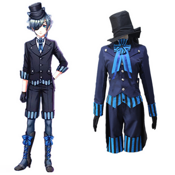 Black Butler ciel phantomhive Cosplay Costume Anime Blue Uniform