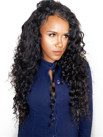 Deep Wave Brazilian Pre-Plucked Hairline Remy Lace Front Human Hair Wig - FashionLoveHunter
