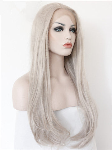 Long Ash Blonde Pearized Straight Synthetic Lace Front Wig - FashionLoveHunter