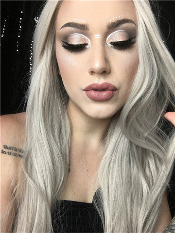 Long Ash Silver Galaxy Straight Synthetic Lace Front Wig - FashionLoveHunter