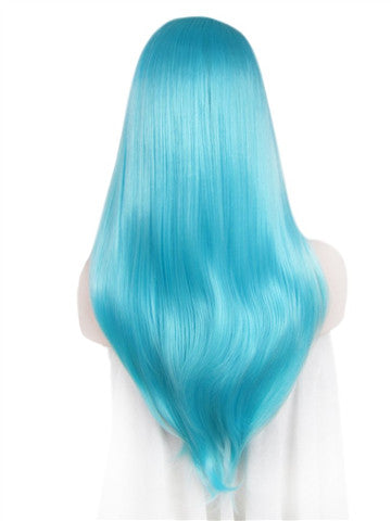 Long Bright Dew Grass Blue Synthetic Lace Front Wig - FashionLoveHunter