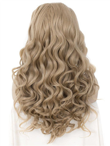 Long Dark Ash Blonde Wave Synthetic Lace Front Wig - FashionLoveHunter