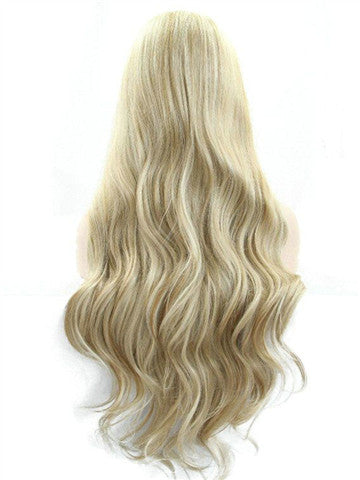 Long Golden Blonde Mixed Color Synthetic Lace Front Wig - FashionLoveHunter
