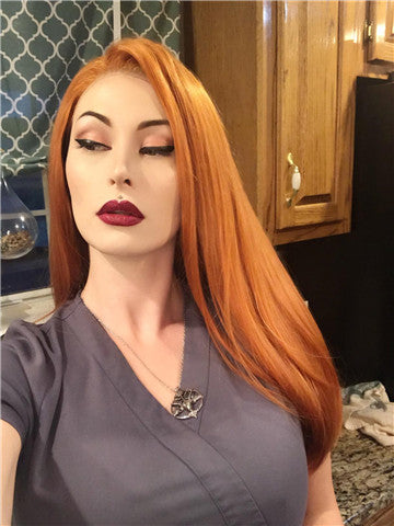 Long Mullet Orange Daily Synthetic Lace Front Wig - FashionLoveHunter