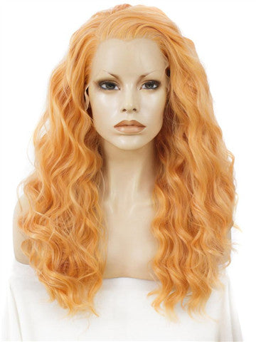 Long Strelitzia Orange Curly Synthetic Lace Front Wig - FashionLoveHunter