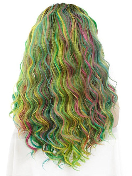 2018 New Long Colorful Rainbow Star Wave Synthetic Lace Front Wig - FashionLoveHunter