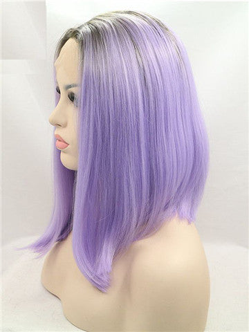 2018 Short Black To Purple Ombre Bob Synthetic Lace Front Wig - FashionLoveHunter
