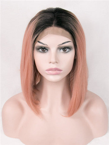 Short Light Erythrina Peach Ombre Synthetic Lace Front Wig - FashionLoveHunter