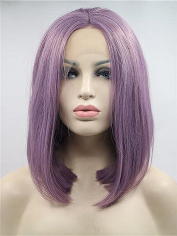 Short Purple Straight Bob Synthetic Lace Front Wig - FashionLoveHunter