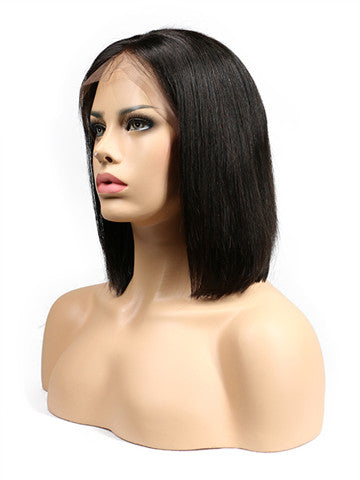Short Straight Lace Front Brazilian Remy Bob Human Hair Wig - FashionLoveHunter