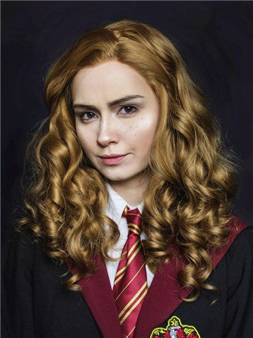 Tan Brownness Harry Porter Hermione Curly Synthetic Lace Front Wig