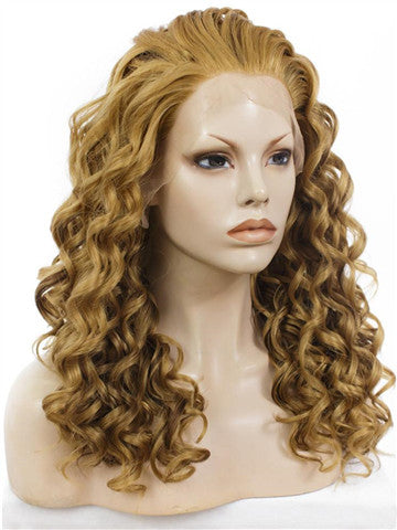Tan Brownness Harry Porter Hermione Curly Synthetic Lace Front Wig - FashionLoveHunter