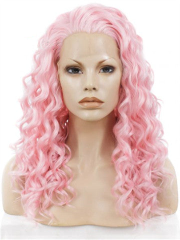 20 Inch Pink Curly Synthetic Lace Front Wig - FashionLoveHunter