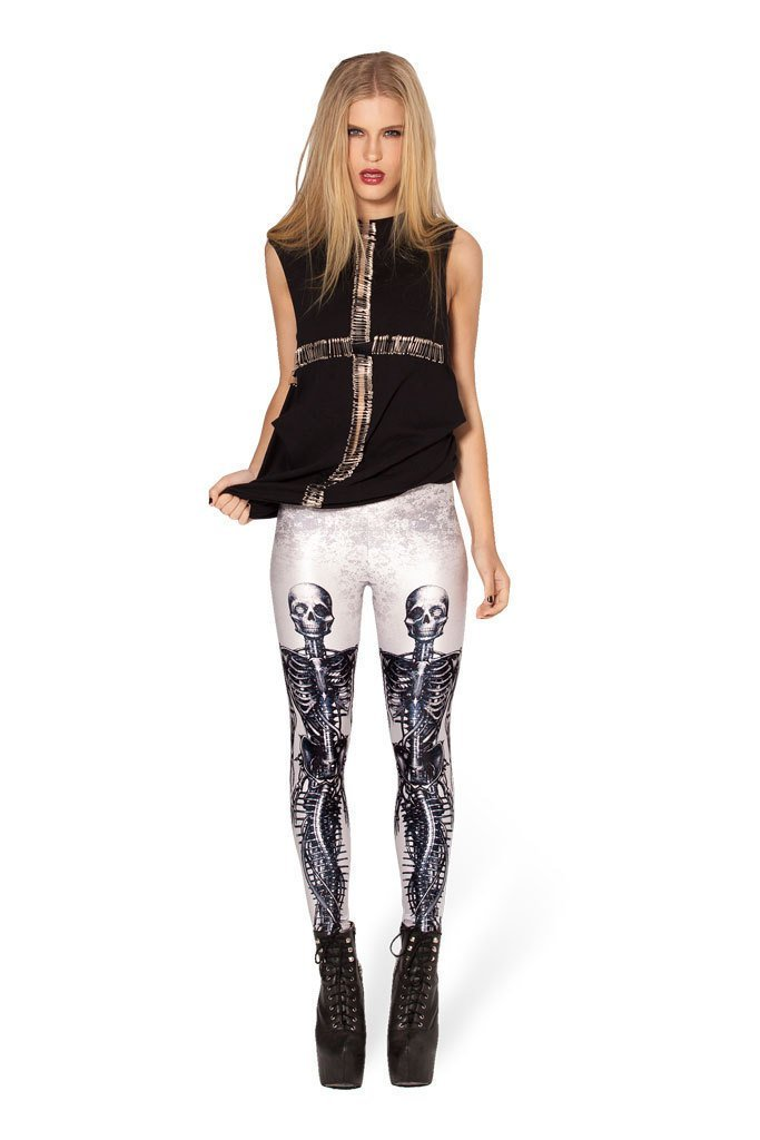 Women's Halloween Printed High Waist Yoga Pants Skull Printed Patterned Workout Leggings