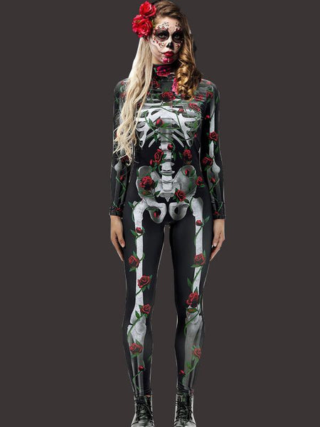Halloween Bone Printed Jumpsuit