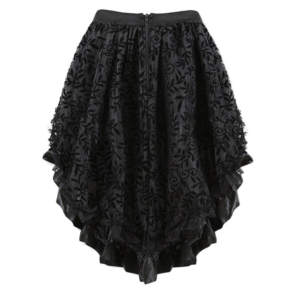 Women Multilayer Lace Victorian Burlesque Costumes Gothic Steampunk Clothing Ruffled Chiffon Skirt