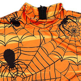 Women Long Sleeves Spider Net Print Halloween Dress Mini Dress
