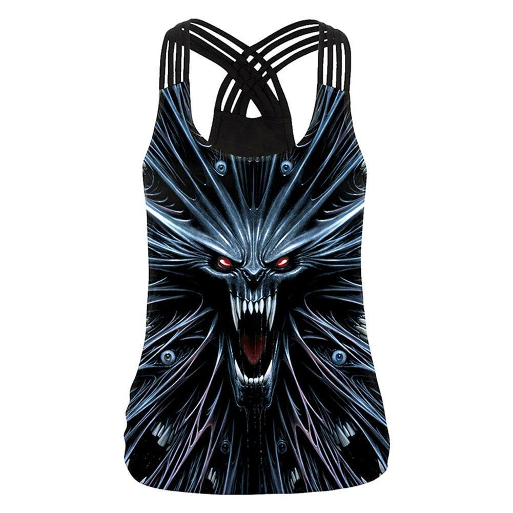 Women Halloween Devil Shirts Cut Out Workout Yoga Running Tank Tops Sleeveless Casual Shirts Tops