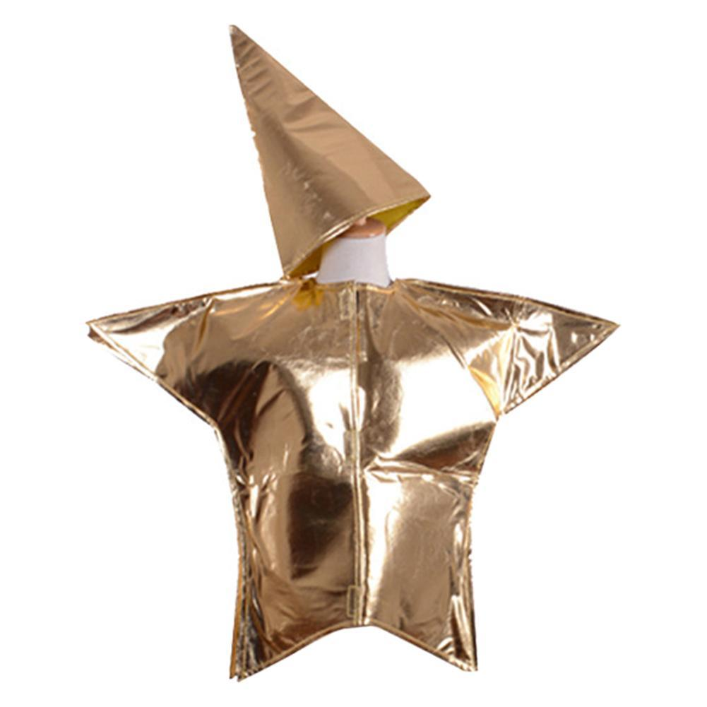 Children Shiny Gold Star Costumes Fancy Dress Christmas Halloween Cosplay Outfit
