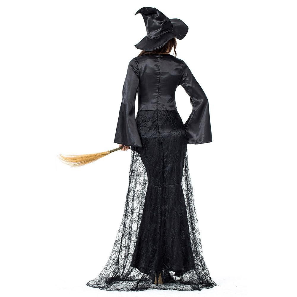 Women Sexy Black Adult Witch Halloween Costumes Maleficent Cosplay Carnival Party Costume