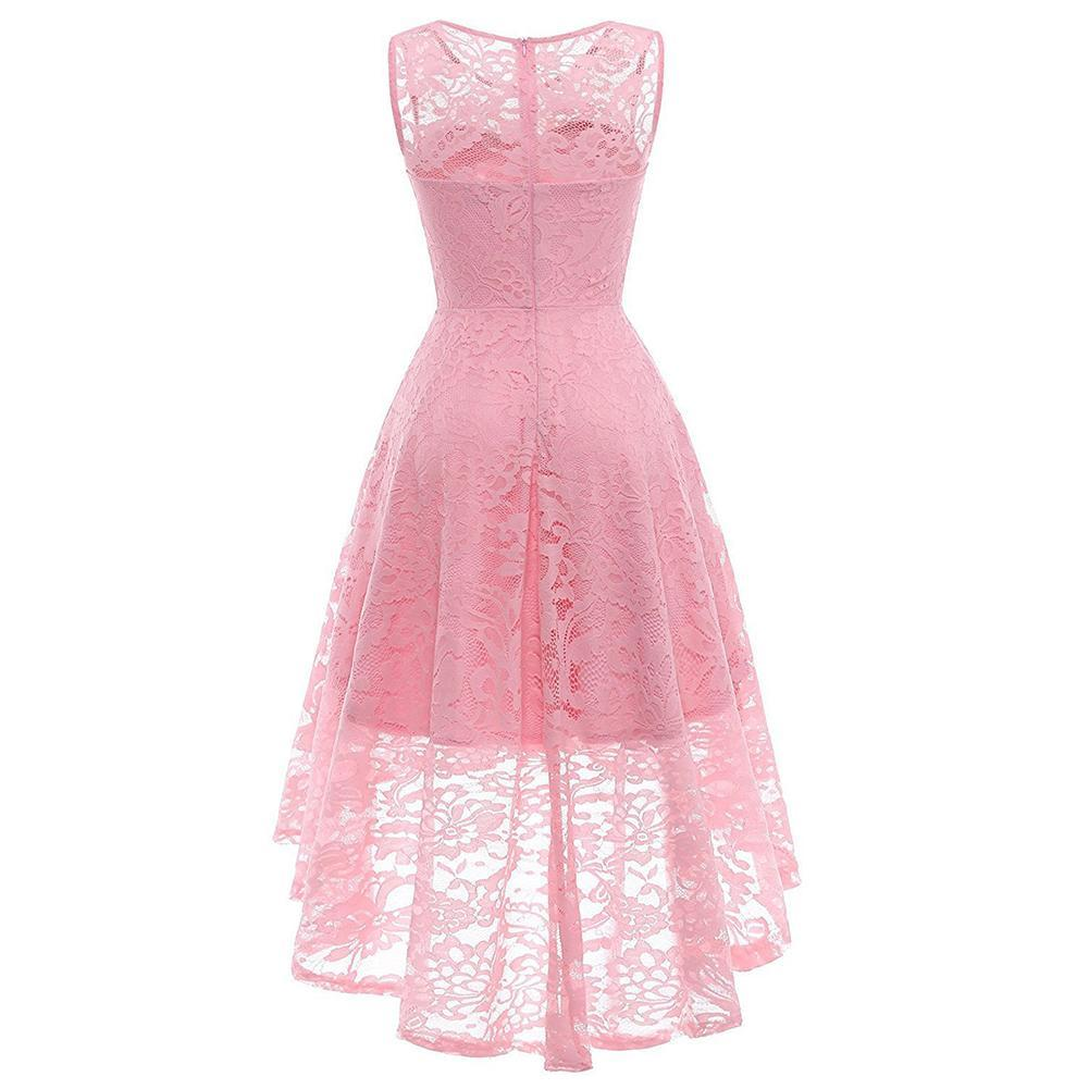Women's Vintage Floral Lace Sleeveless Hi-Lo Cocktail Formal Swing Dress