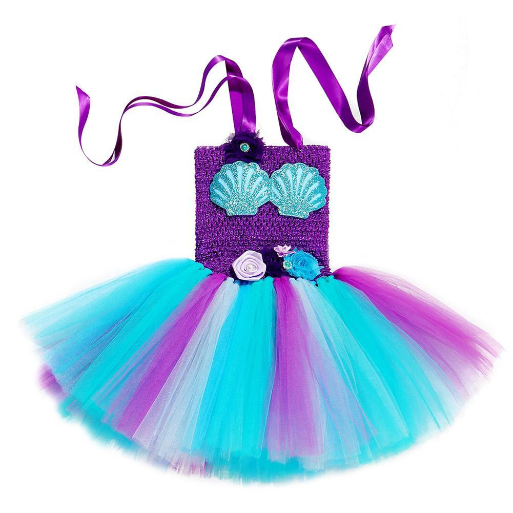 Girls Mermaid Tutu Dress with Headband Mermaid Purple Tutu Dress Tulle Costume Outfit