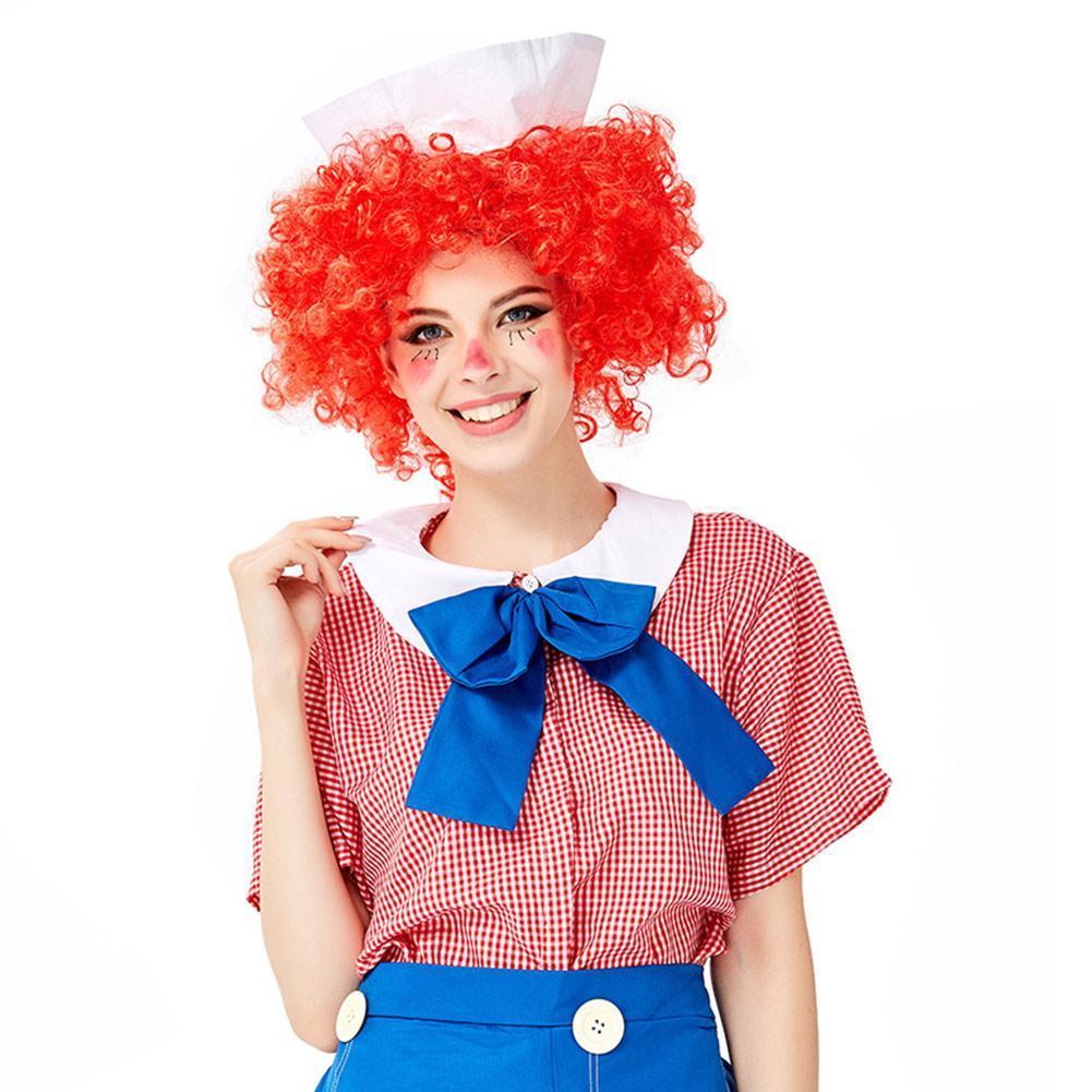 Halloween Women Humor Striped Clown Costume Fancy Cosplay Performance Outfit
