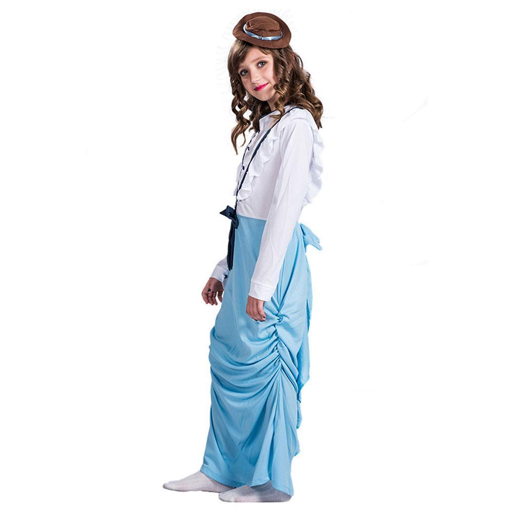 Girls Long Sleeve Birthday Dress Victorian Princess Masquerade Dress