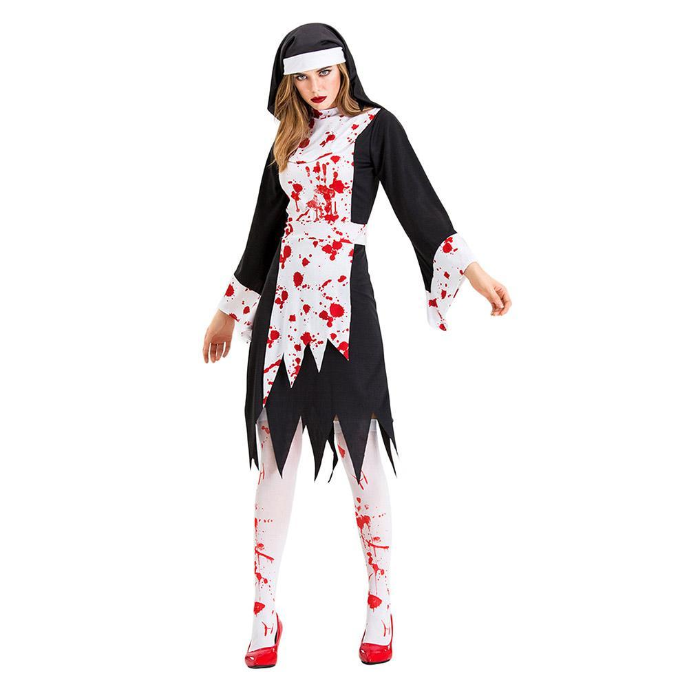 Women Scary Bloody Nuns Costume Evil Vampire Zombie Costume Halloween Party Cosplay Fancy Dress Outfits