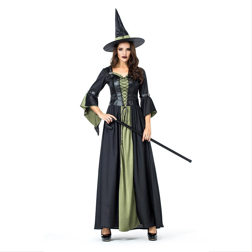 Women Halloween Party Witch Role-playing Female Evil Witch Stage Cosplay Costumes Long Fancy Dress