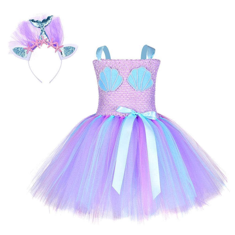 Girls Mermaid Tutu Dress Shell Pattern Halloween Dress Kids Princess Mermaid Tutu Dress Sequin Headband Set