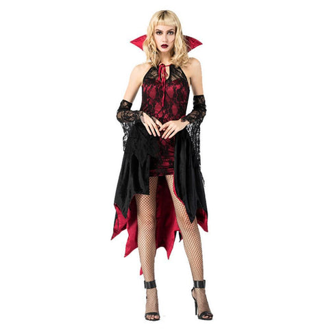 Adult Women Halloween Vampire Collar Dress Evil Queen Costume for Carnival Performance Fancy Dress