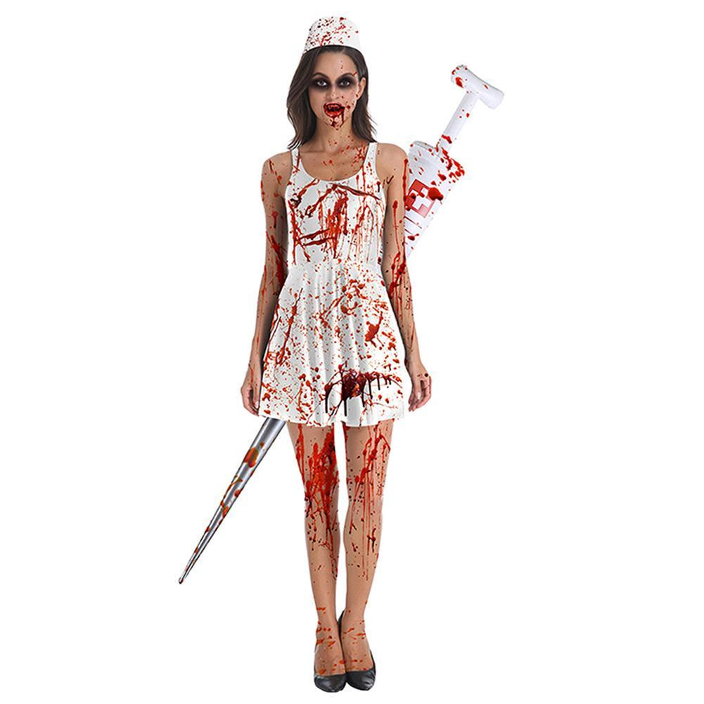 Women's Zombie Nurse Costume Halloween Horror Bloody Ghost Cosplay