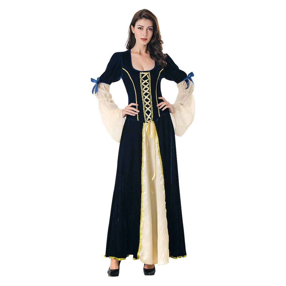 Women Medieval Costume Dress Renaissance Lace Up Victorian Irish Cosplay Retro Gown Long Dress
