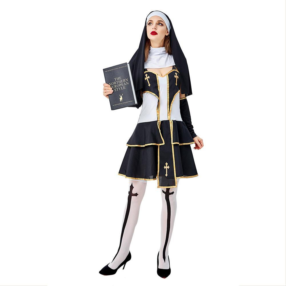 Women Halloween Costumes Virgin Mary Nun Missionary Costume Purim Sister Nun Masquerade Party Dress Set