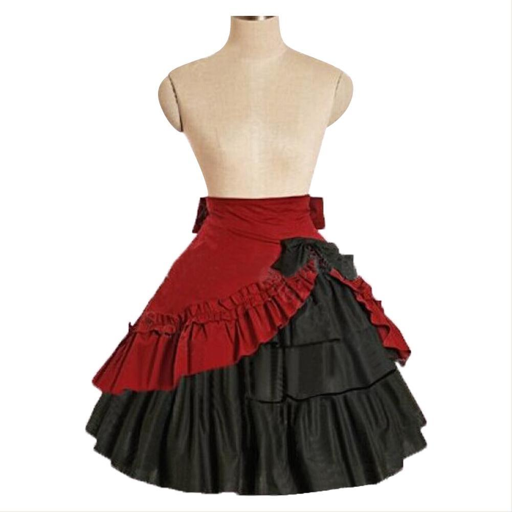 Women's Steampunk Retro Gothic Vintage Ruffle Gypsy Hippie Lace Lolita Party Skirt