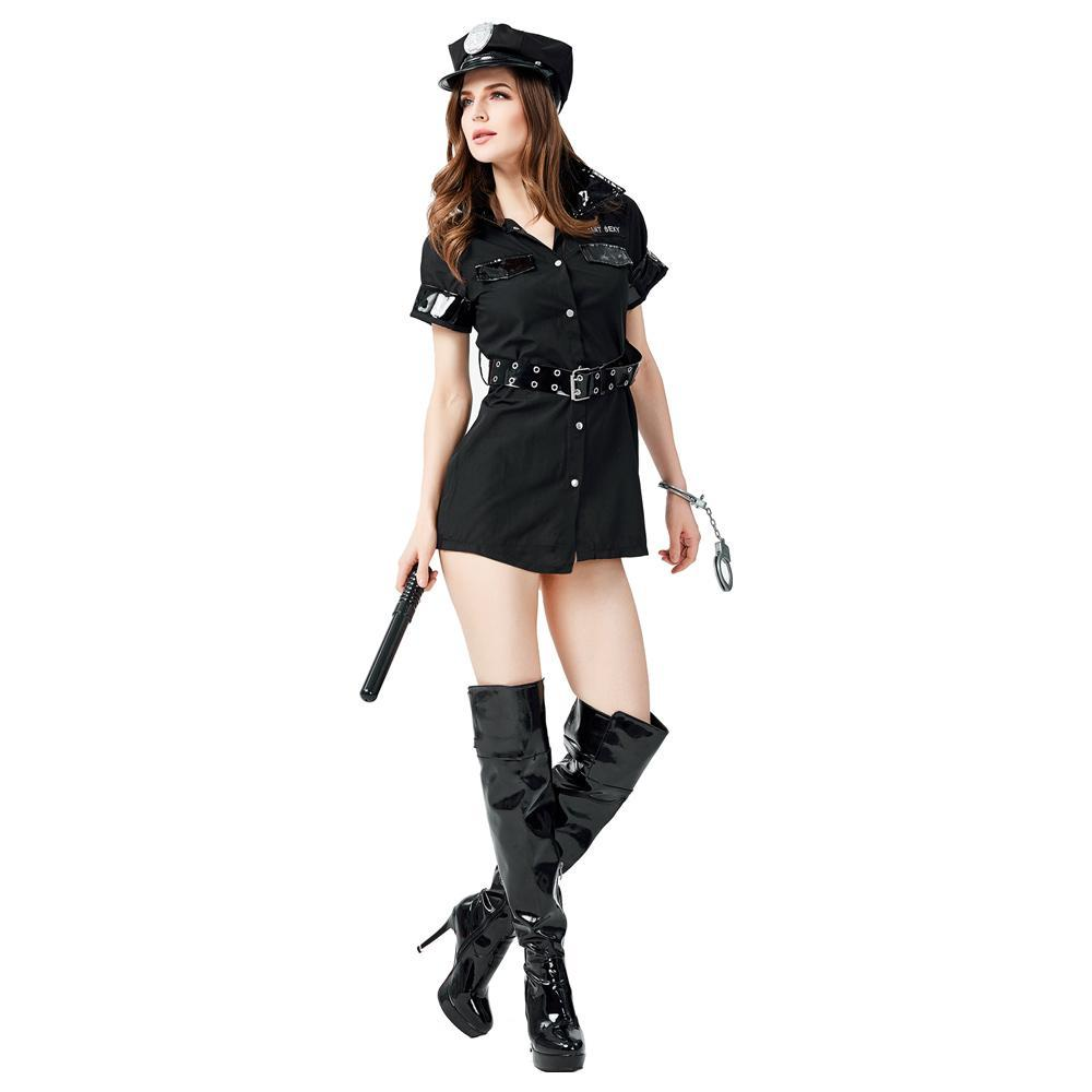 Women's Sexy Police Uniform Officer Costume Halloween Cosplay Fancy Dress