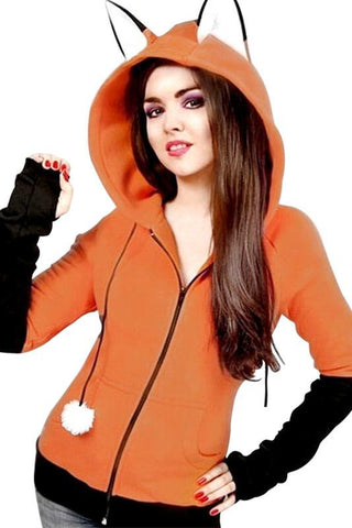 Anime Fox Orelhas Ears Cosplay Hoodie Jacket Teens Sweatshirt Orange
