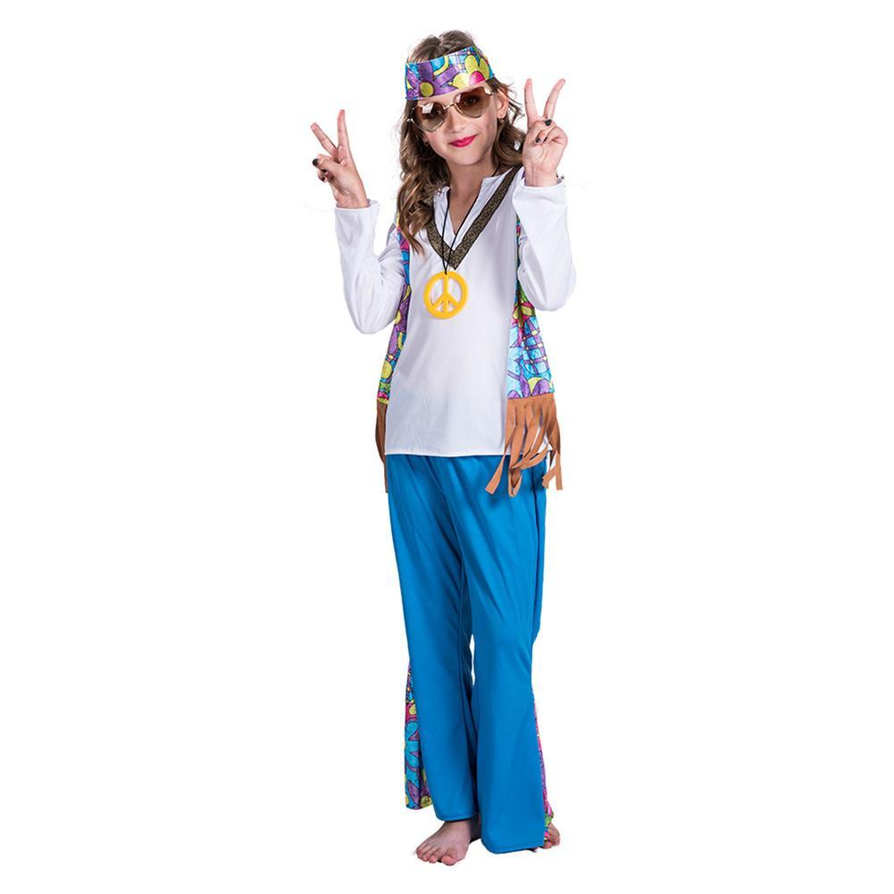 Girls Peace and Love 60s Hippie Costume for Halloween Party Stage Performance Set