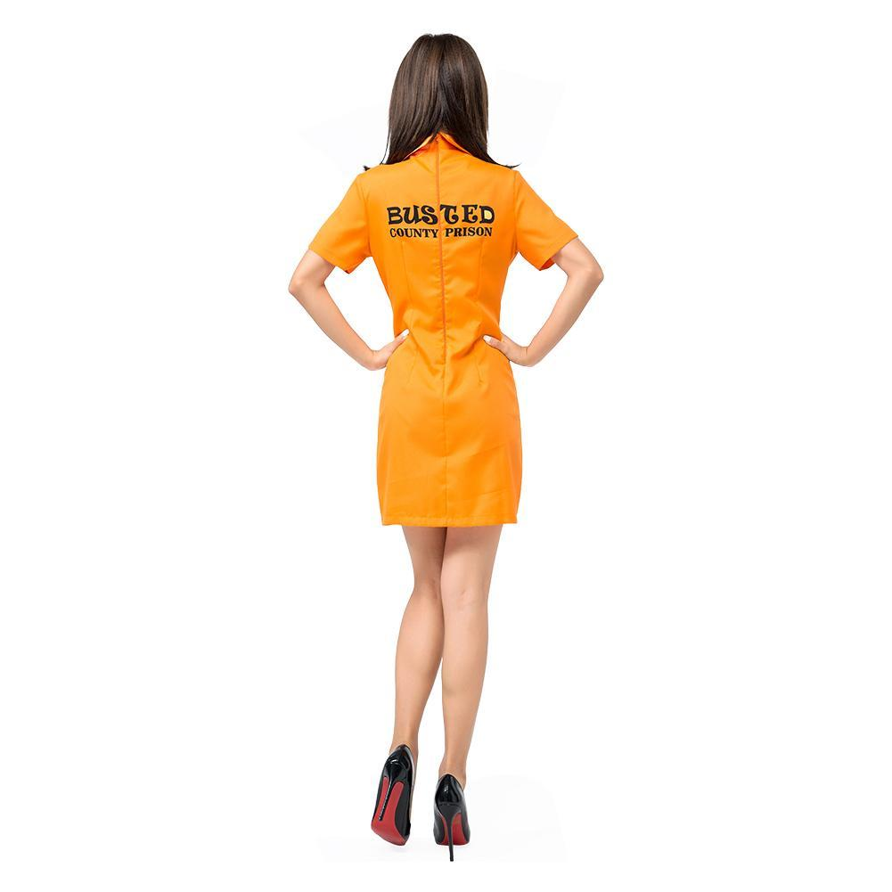 Women Sexy Orange Inmate Prisoner Costume Dress Cosplay Party Fancy Dress Halloween Costumes