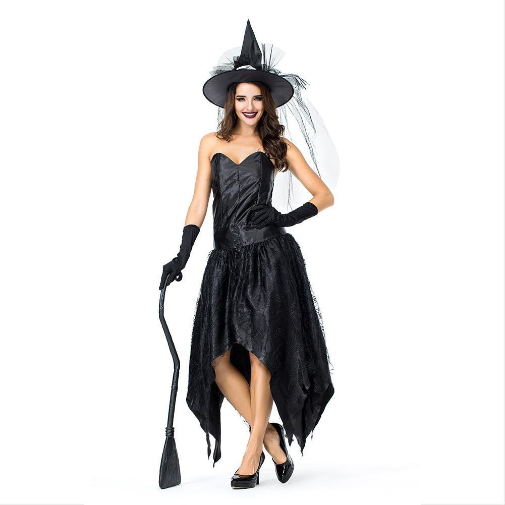 Woman Gothic Sorceress Cosplay Female Halloween Black Witch Costume Carnival Masquerade Nightclub Party Dress