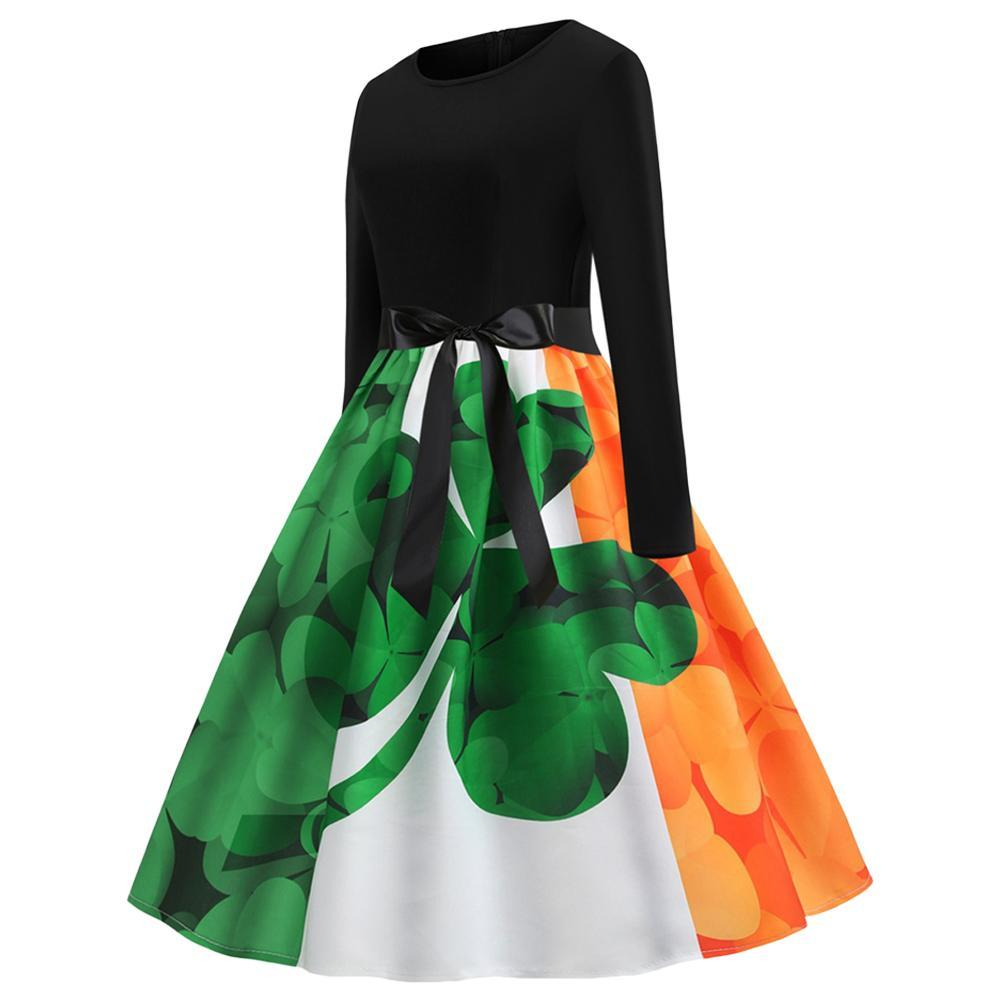 Women St Patrick's Day Casual Aline Evening Party Prom Swing Bodycon Dress