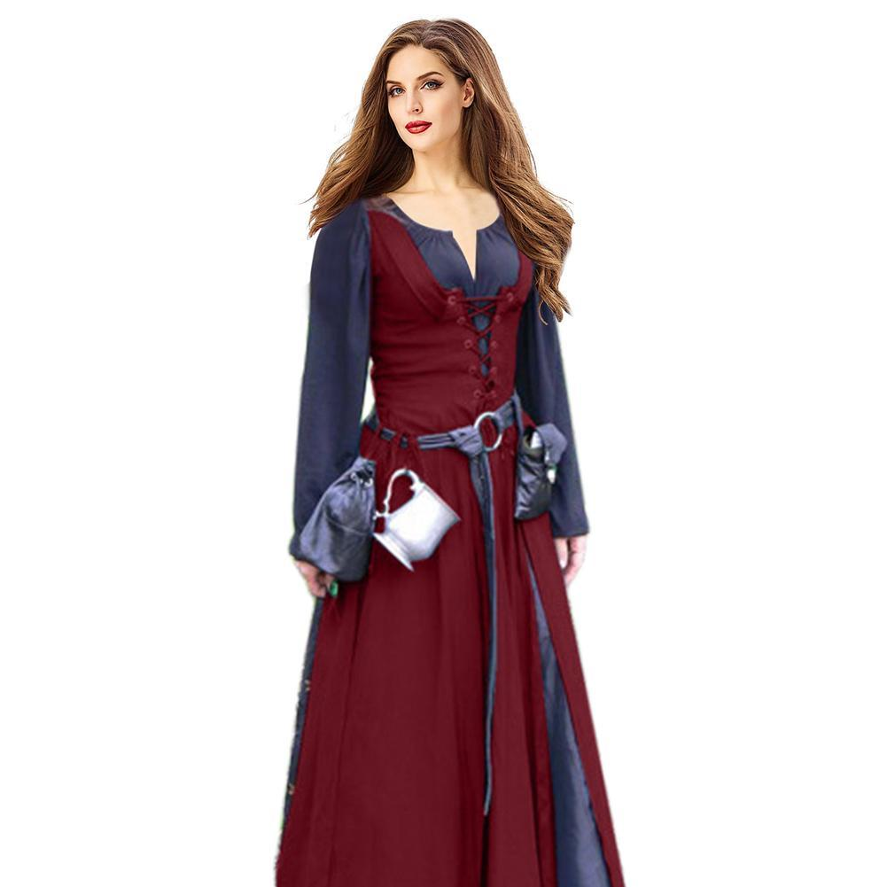 Women Gothic Medieval Dress Cosplay Carnival Halloween Costume Retro Vestidos Court Long Princess Palace Dress