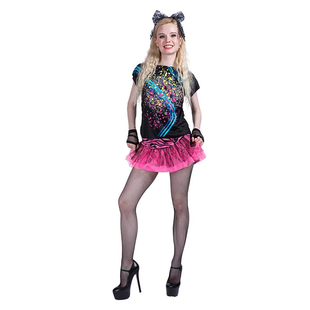 Women Halloween 80s Retro Disco Stage Dress Short Lace Skirt Performance Cosplay Costume