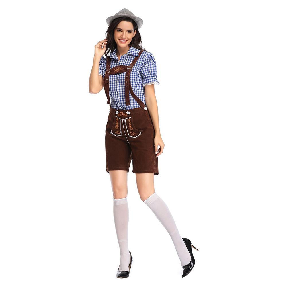 Women Oktoberfest Costume German Beer Girl Halloween Costume Traditional Bavarian Dirndl Shirt