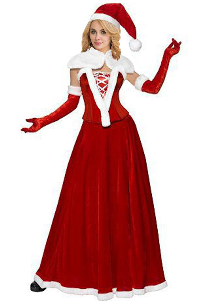 Women Christmas Velvet Miss Santa Costume