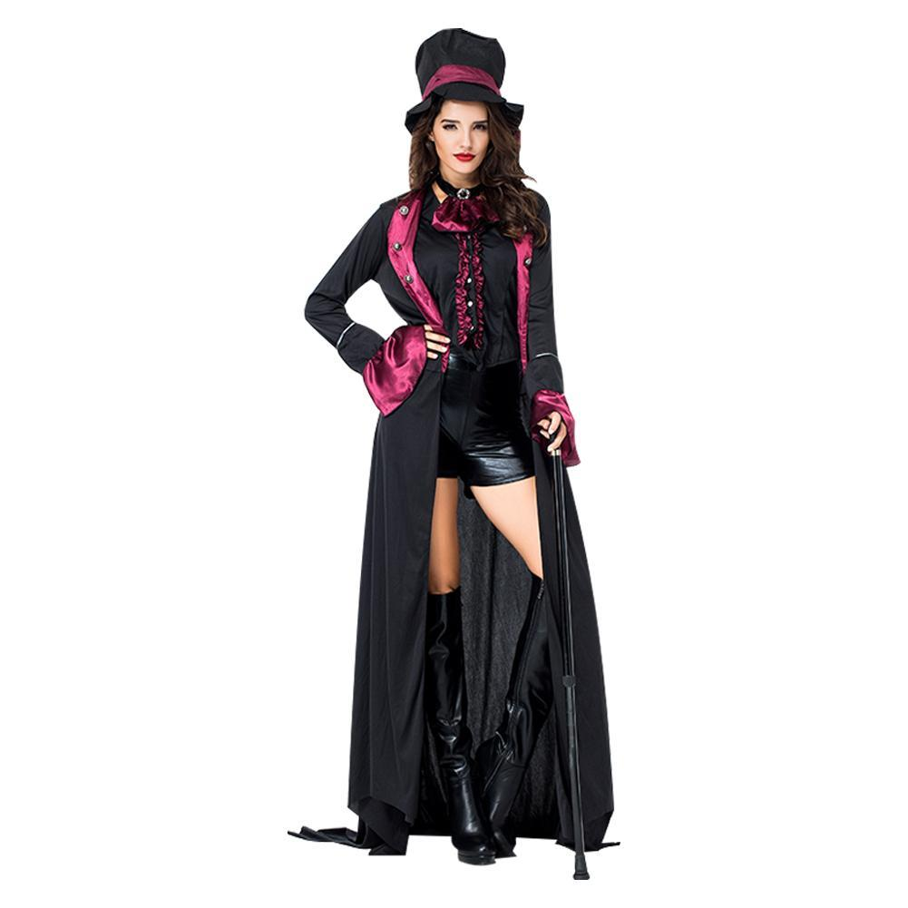 Adult Women Noble Dark Serious Count Dracula Vampire Cosplay Costume Party Costume Halloween Costume